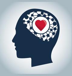 Human head brain heart function medical vector