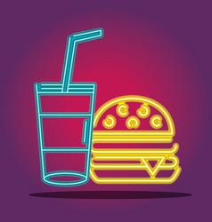 Humburger and soda neon icons sign decoration vector