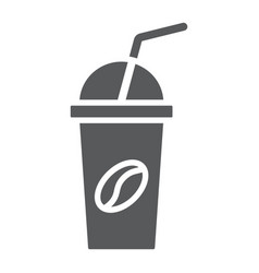 Ice coffee glyph icon coffee and cafe cup sign vector