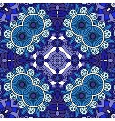 Intricate blue geometric circular pattern vector image