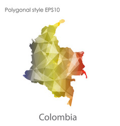 Isolated icon colombia map polygonal geometric vector