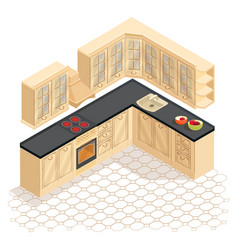isometric cartoon retro kitchen furniture icon vector image