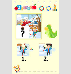 jigsaw puzzle game with kids playing in snow vector image