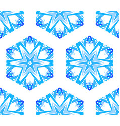 Kaleidoscopic white blue flower background vector