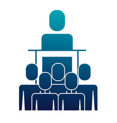 meeting business people boss podium presentation vector image