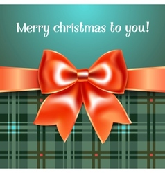 Merry Christmas background with red ribbon bow vector image