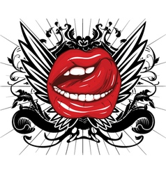 mouth with floral and wings vector image