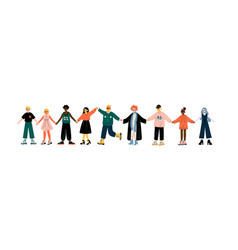 Multicultural people standing in row together vector
