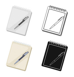 notebook and pen icon in cartoon style isolated on vector image