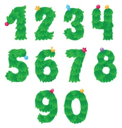 Numbers like Christmas tree with toys on the top vector