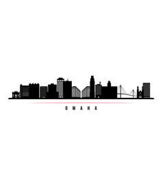 Omaha skyline horizontal banner black and white vector