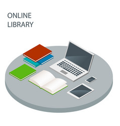 Online library isometric concept reading vector