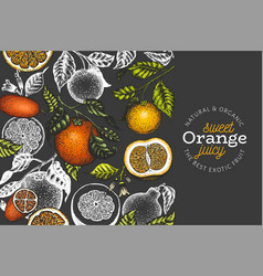 Orange branches design template hand drawn colour vector