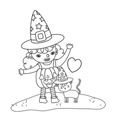 Outline happy girl with pumpkin costume and cat vector