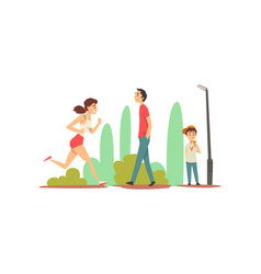 people relaxing and doing sports in park sportive vector image