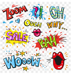pop art modern patches and speech bubbles vector image