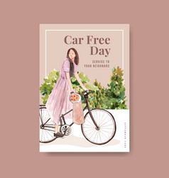 poster template with world car free day concept vector image