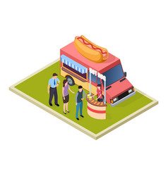 Promo hot dog and beer tasting and fast food truck vector