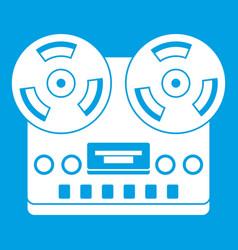 retro tape recorder icon white vector image