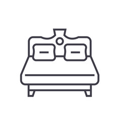 Royal double bed line icon sign vector