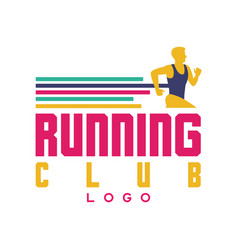 Running club logo emblem with abstract running vector