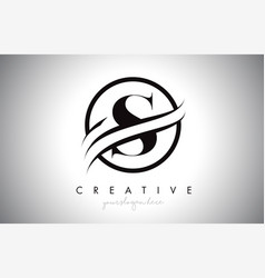 S letter logo design with circle swoosh border vector