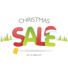 Sale inscription with snowflakes in paper style vector image