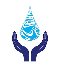 Save water sign icon Hand holds water drop symbol vector image