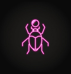 Scarab beetle icon in glowing neon style vector