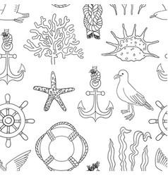 Sea hand draw sketch seamless pattern vector
