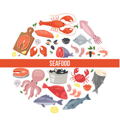 seafood and fish flat cartoon banner vector image