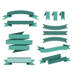 set of the blue ribbons for banner poster vector image