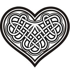 Shamrock heart celtic symbol black white tattoo vector