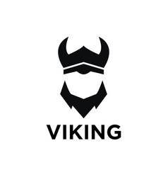 Simple negative space viking logo design template vector