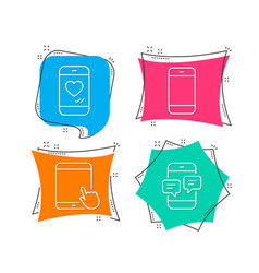 smartphone tablet pc and love chat icons phone vector image