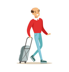 smiling man traveling with suitcase colorful vector image