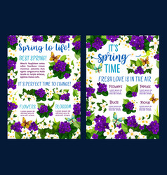 spring flower blossom poster of springtime holiday vector image