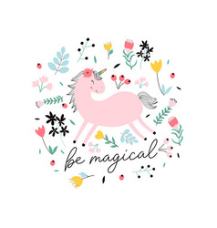 sweet unicorn and flowers print design with slogan vector image