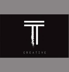 t monogram letter logo design brush paint stroke vector image