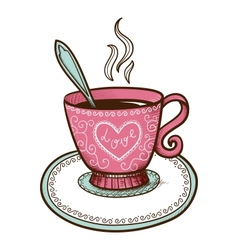 Tea or coffee cup with heart shaped steam vector