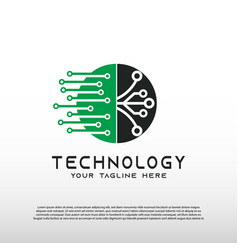 Technology logo with concept network element vector