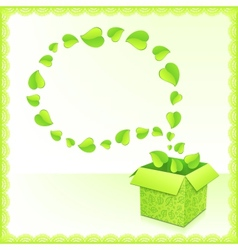 Text bubble from foliage with green box of leaves vector image vector image