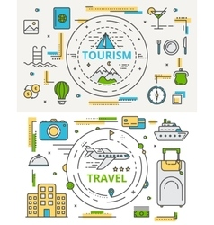 thin line flat design tourism and travel vector image