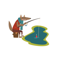 Toothy wolf with fishing rod catching fish cute vector