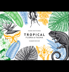 tropical banner design frame with hand drawn vector image