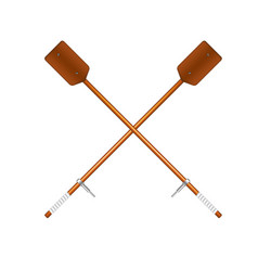 two crossed old oars in brown design vector image