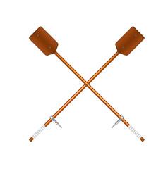 Two crossed old oars in brown design vector