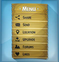 Ui element and data icons on wood panel vector