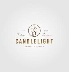 Vintage line art candle light flame logo gold vector