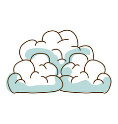 Watercolor hand drawn silhouette of cumulus clouds vector